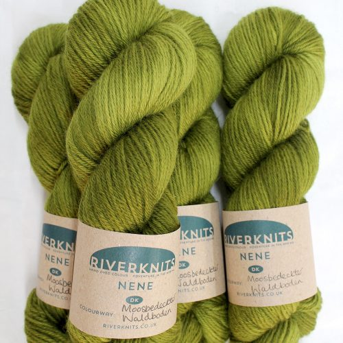 A pile of skeins of Nene DK in olive mossy green