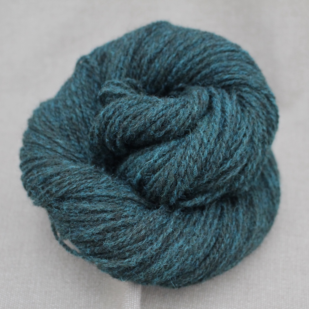 A skein of Severn 4 Ply in a dark moody teal