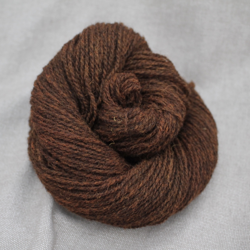 A skein of Severn 4 Ply in a rich brown colour