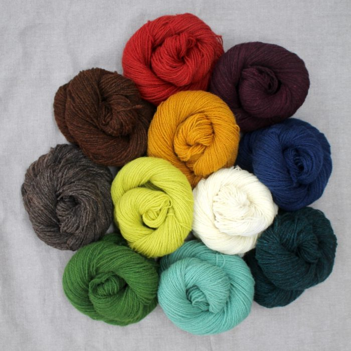 A group of skeins in the full range of Severn colours