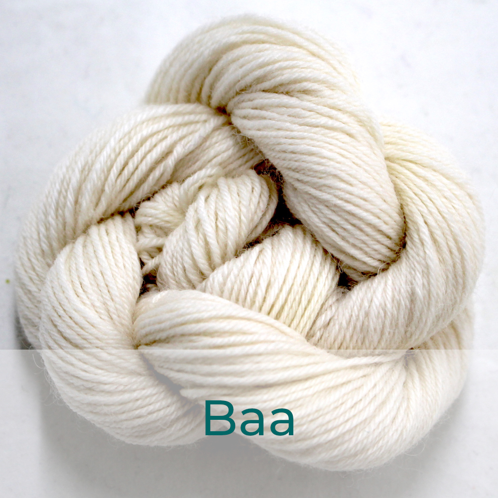 BFL 4 Ply mini skein in the Baa colourway. It is ecru.