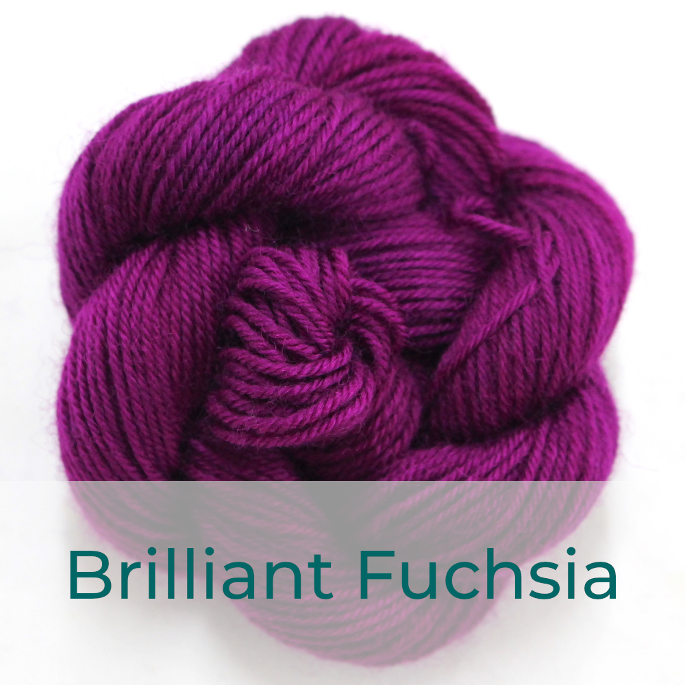 BFL 4 Ply mini skein in Brilliant Fuchsia colourway. It is bright fuchsia.