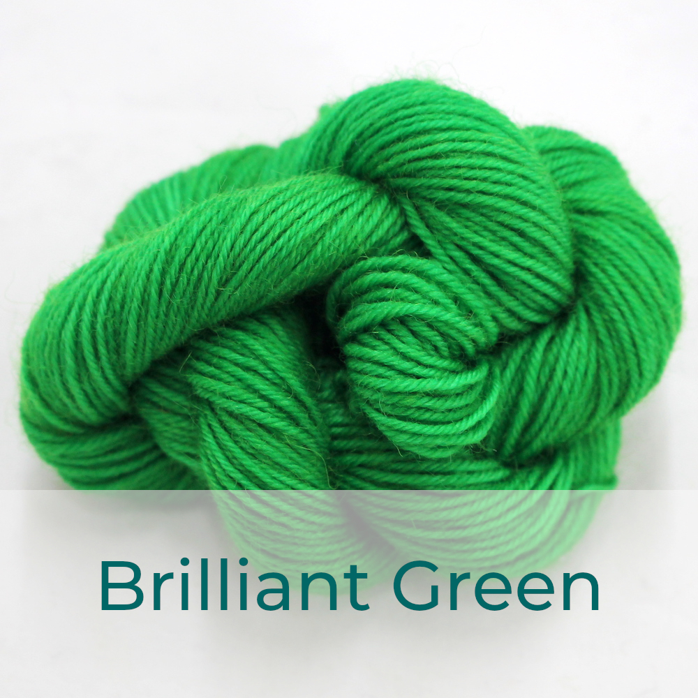BFL 4 Ply mini skein in Brilliant Green colourway. It is bright green.