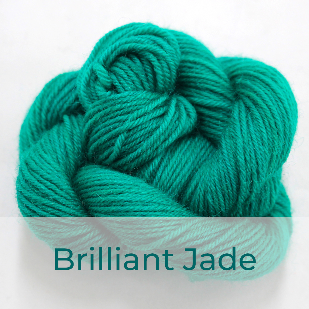 BFL 4 Ply mini skein in Brilliant Jade colourway. It is bright jade-green.