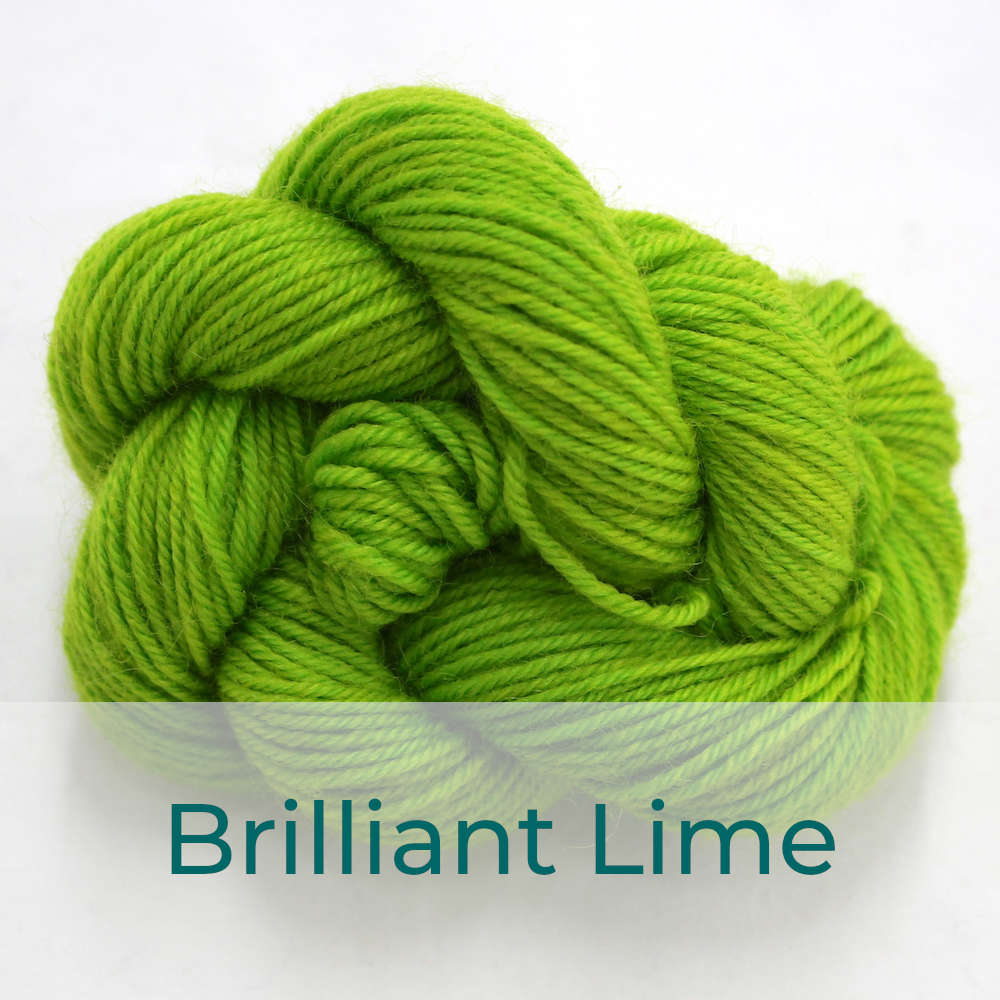 BFL 4 Ply mini skein in Brilliant Lime colourway. It is bright lime green.