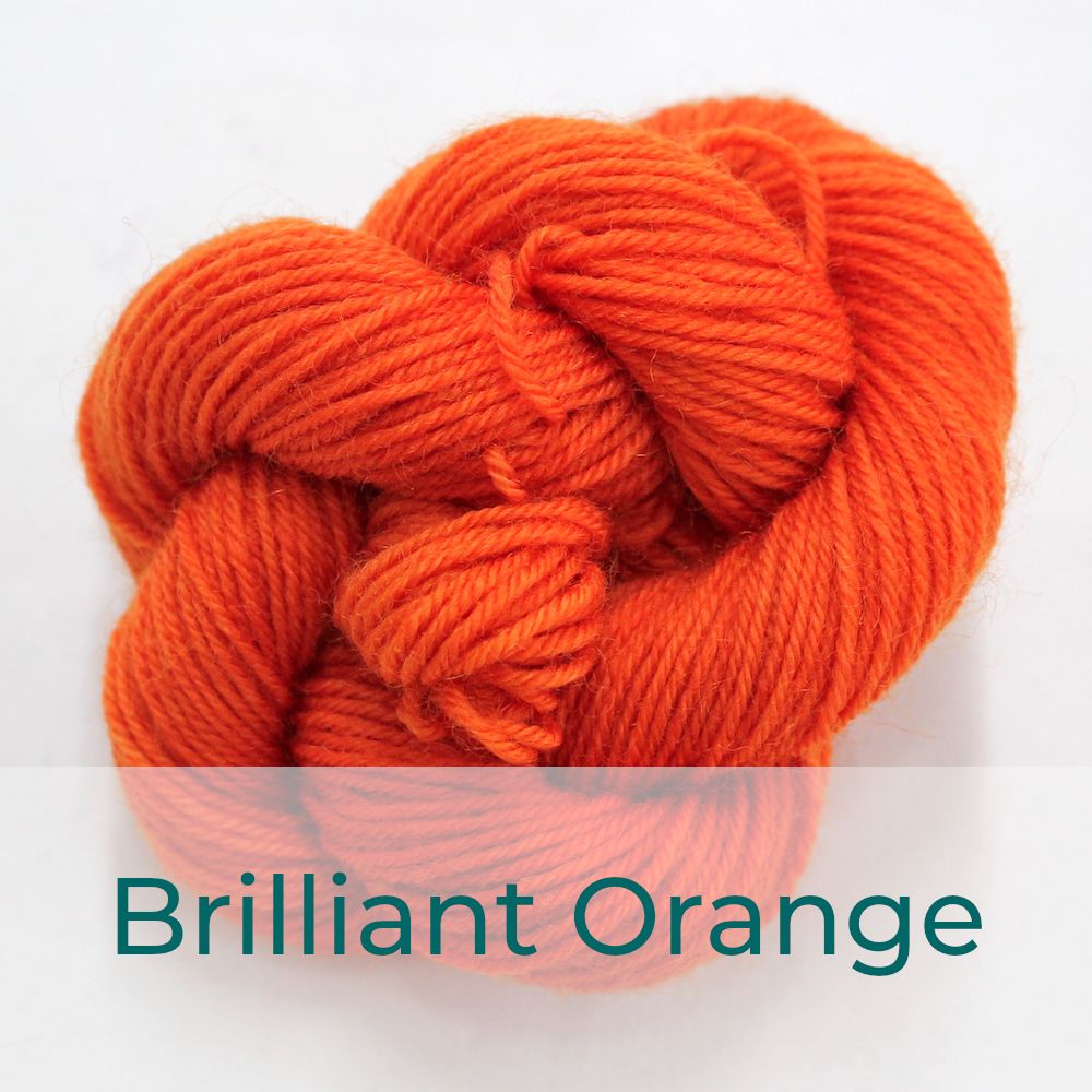 BFL 4 Ply mini skein in Brilliant Orange colourway. It is bright orange.