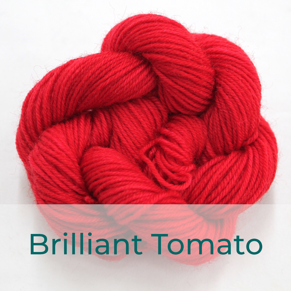 BFL 4 Ply mini skein in Brilliant Tomato colourway. It is bright red.