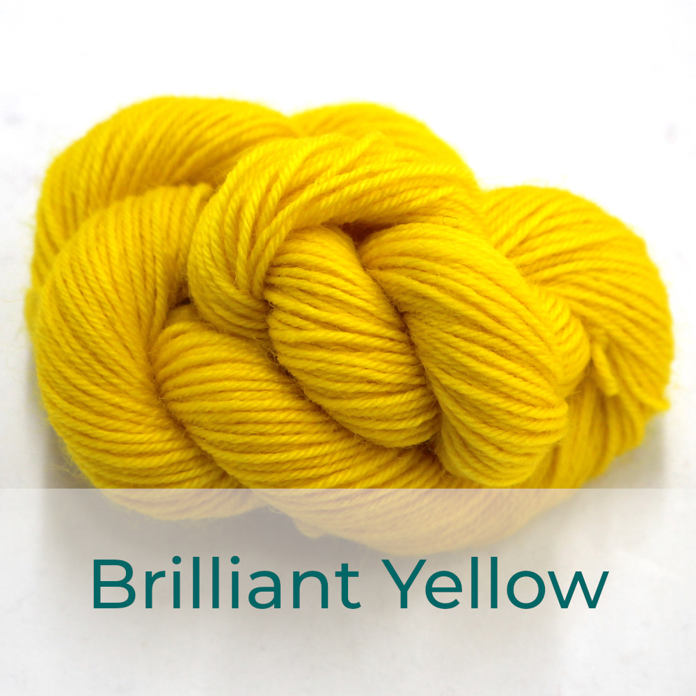 BFL 4 Ply mini skein in Brilliant Yellow colourway. It is bright lemon yellow.