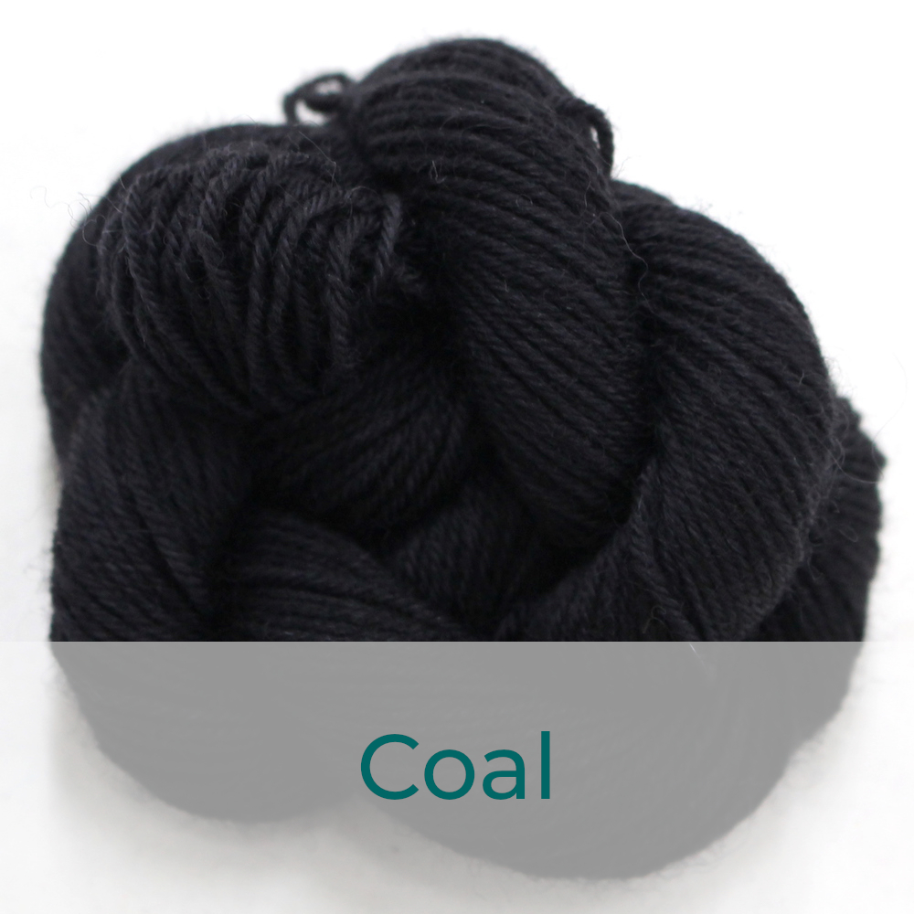 BFL 4 Ply mini skein in the Coal colourway. It is black.