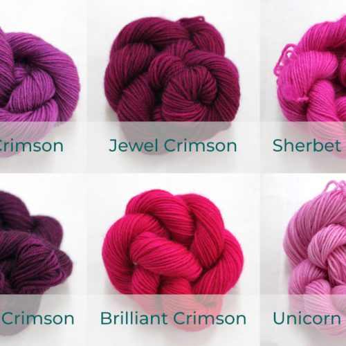 BFL 4 Ply Mini skeins ranging from dark to light Crimson.