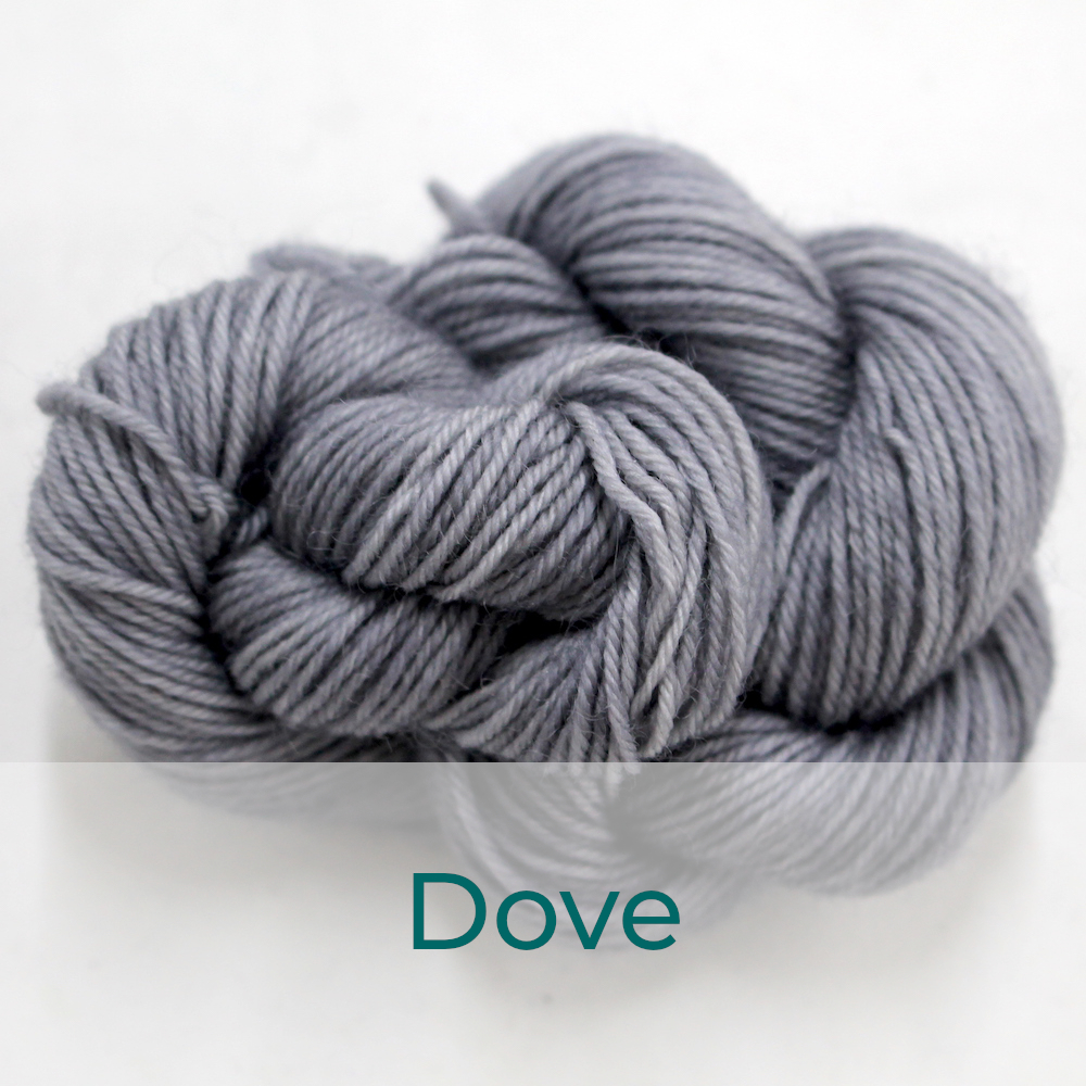 BFL 4 Ply mini skein in the Dove colourway. It is a light-medium grey.