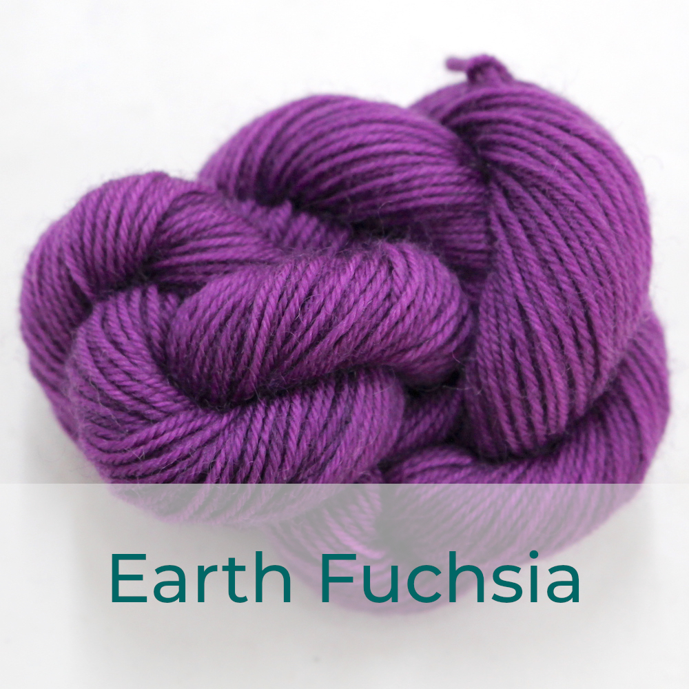 BFL 4 Ply mini skein in the Earth Fuchsia colourway. It is dusky fuchsia.
