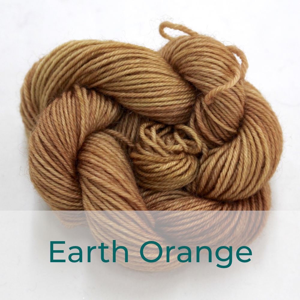 BFL 4 Ply mini skein in the Earth Orange colourway. It is light brown.