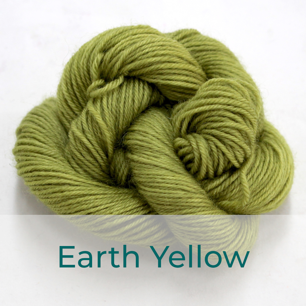 BFL 4 Ply mini skein in Earth Yellow colourway. It is soft murky green.