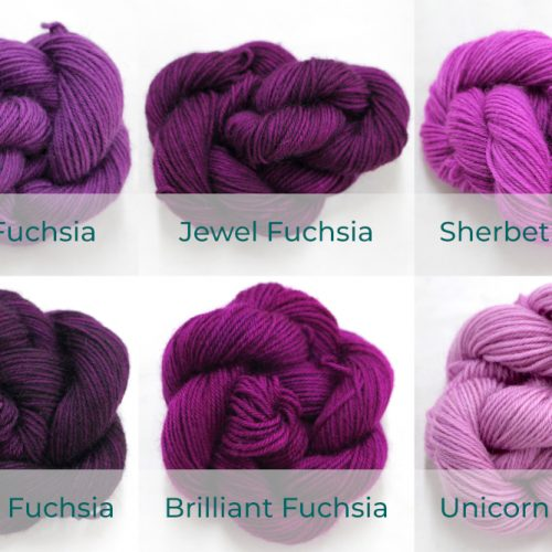 BFL 4 Ply Mini skeins ranging from dark to light Fuchsia.