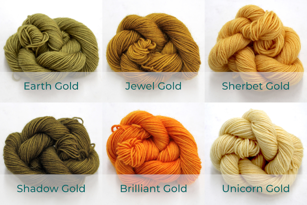 BFL 4 Ply Mini skeins ranging from dark to light Gold.