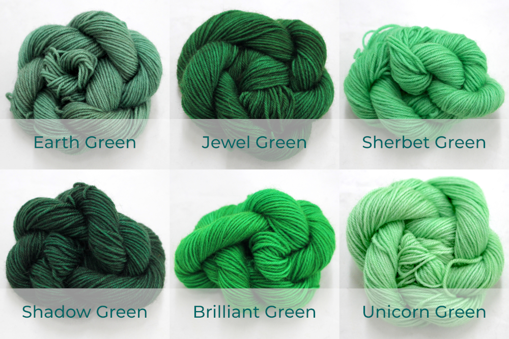 BFL 4 Ply Mini skeins ranging from dark to light Green.