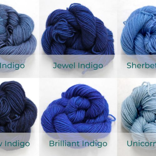 BFL 4 Ply Mini skeins ranging from dark to light Indigo.