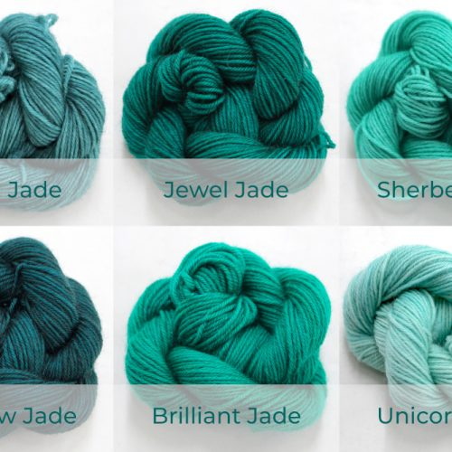 BFL 4 Ply Mini skeins ranging from dark to light Jade.