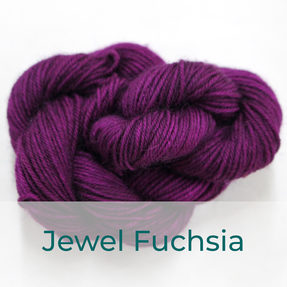 BFL 4 Ply mini skein in Jewel Fuchsia colourway. It is deep fuchsia purple.