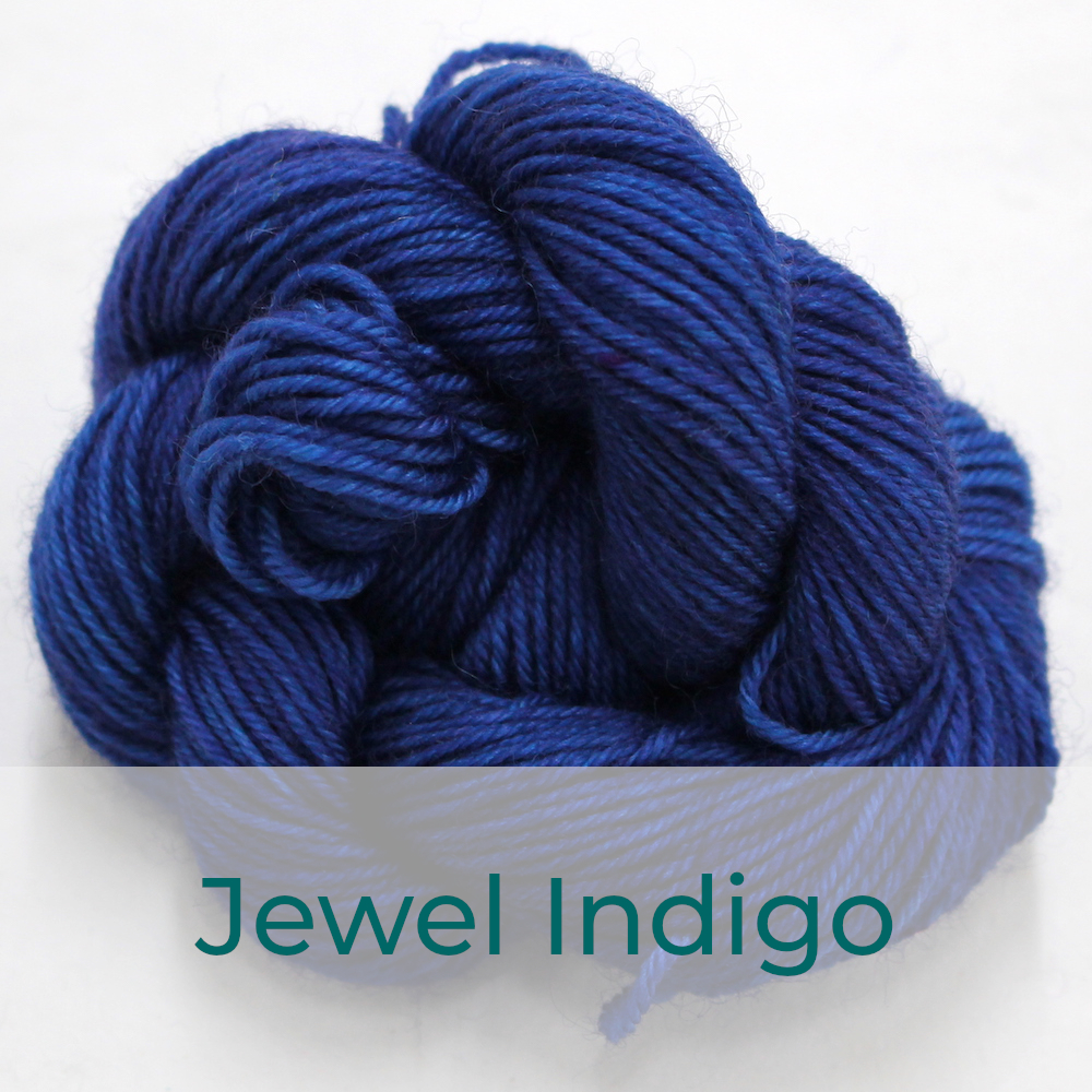 BFL 4 Ply mini skein in the Jewel Indigo colourway. It is royal blue.