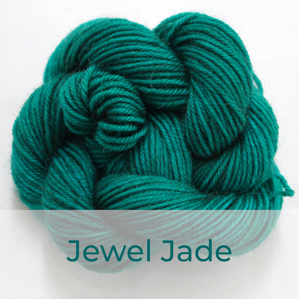 BFL 4 Ply mini skein in the Jewel Jade colourway. It is rich jade green.