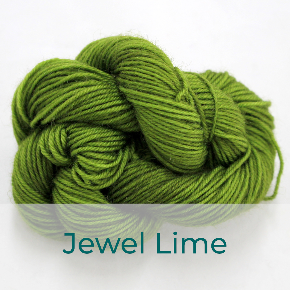 BFL 4 Ply mini skein in the Jewel Lime colourway. It is rich yellow-green.