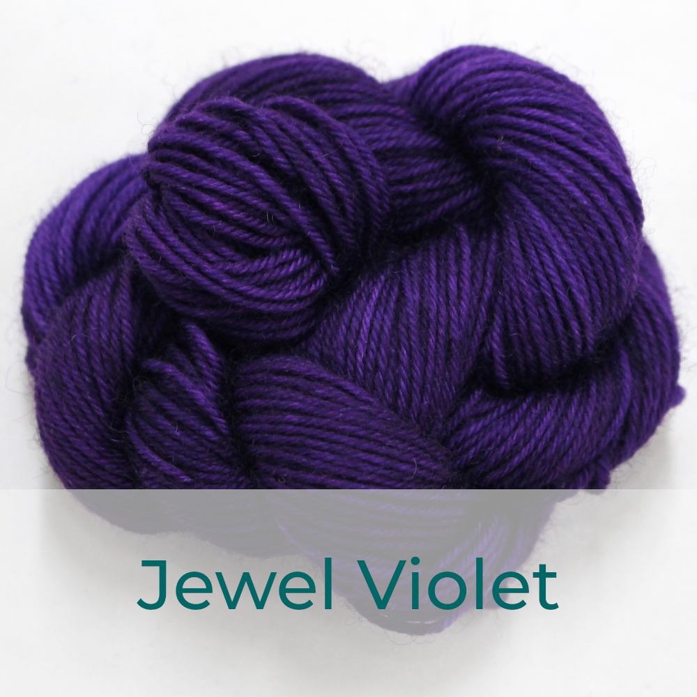 BFL 4 Ply mini skein in Jewel Violet colourway. It is royal purple.