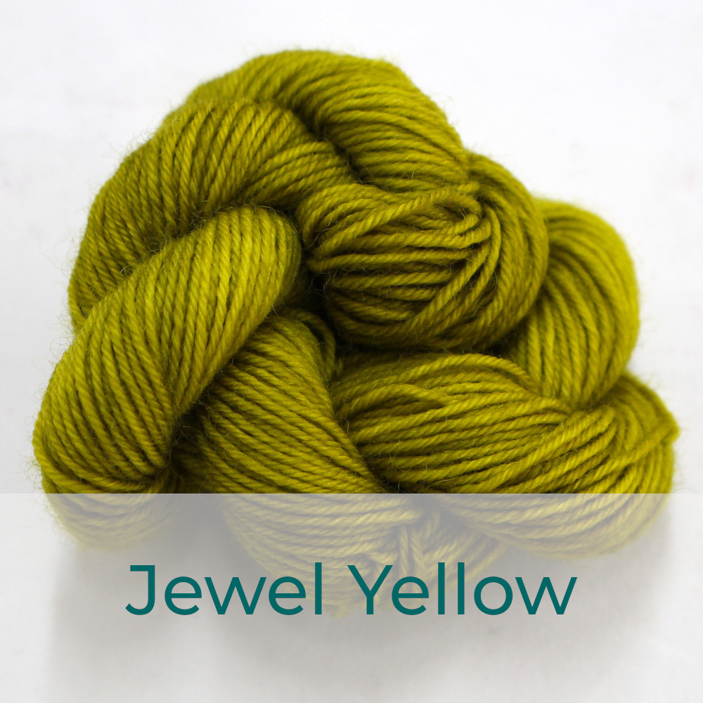BFL 4 Ply mini skein in Jewel Yellow colourway. It is chartreuse.