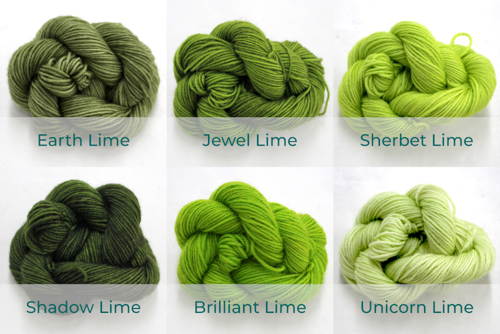 BFL 4 Ply Mini skeins ranging from dark to light Lime.