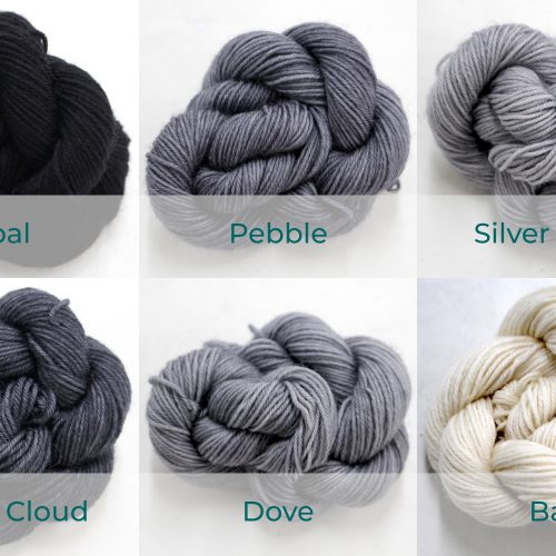 BFL 4 Ply Mini skeins ranging from ecru, to grey, to black.