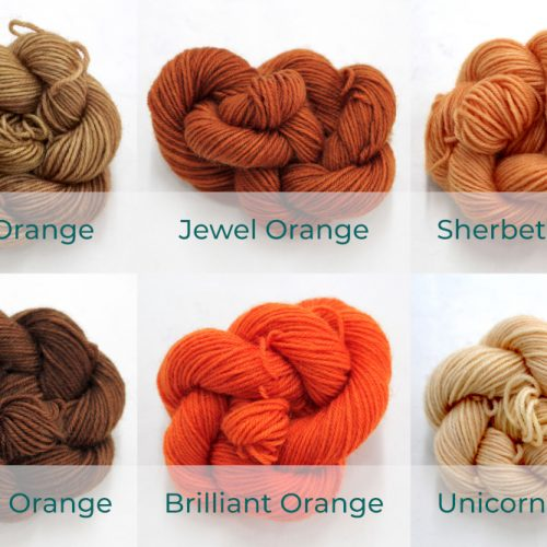 BFL 4 Ply Mini skeins ranging from dark to light Orange.