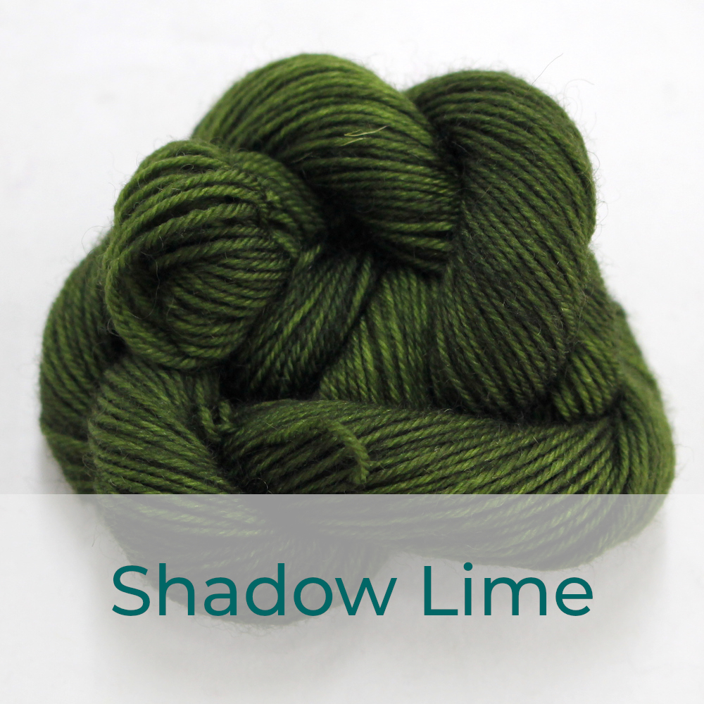 BFL 4 Ply mini skein in Shadow Lime colourway. It is dark khaki green.