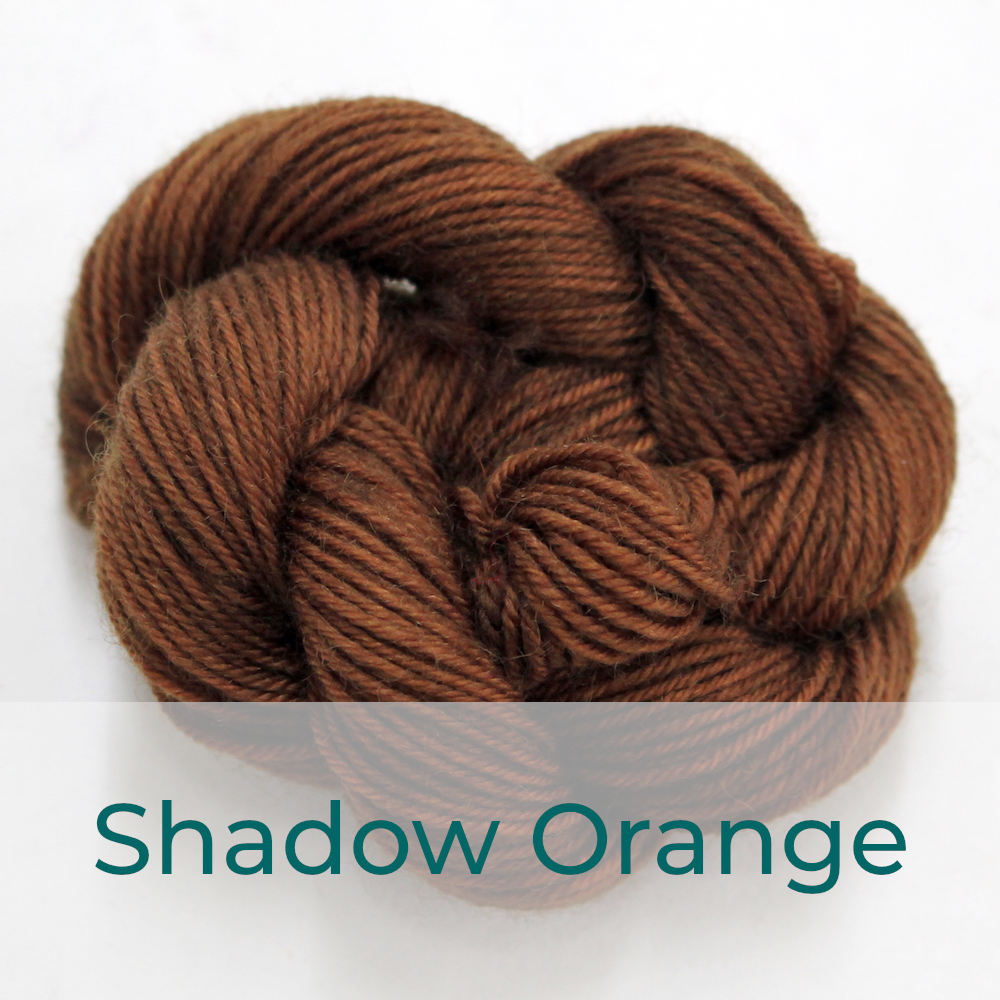 BFL 4 Ply mini skein in the Shadow Orange colourway. It is dark brown.