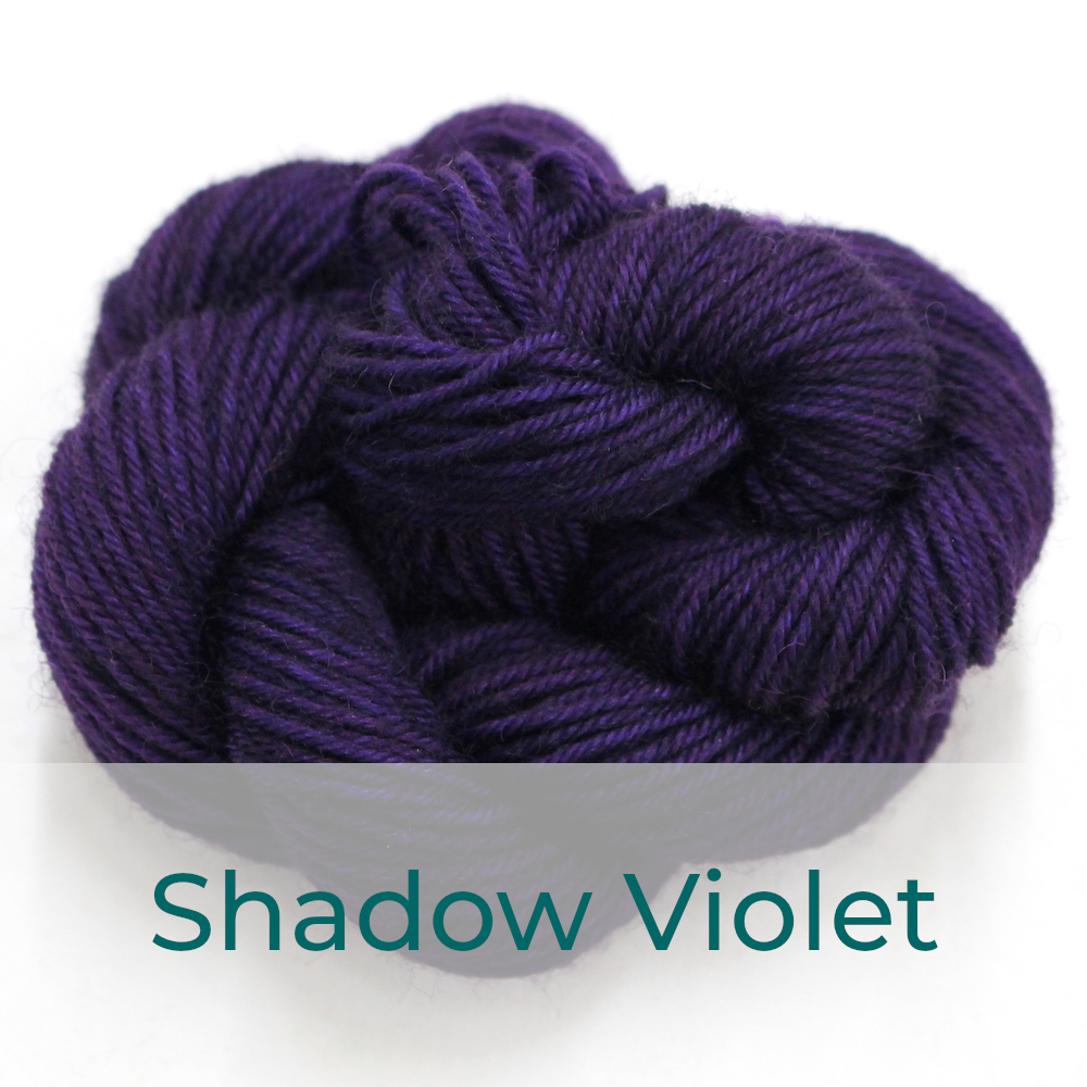 BFL 4 Ply mini skein in the Shadow Violet colourway. It is deep dark purple.