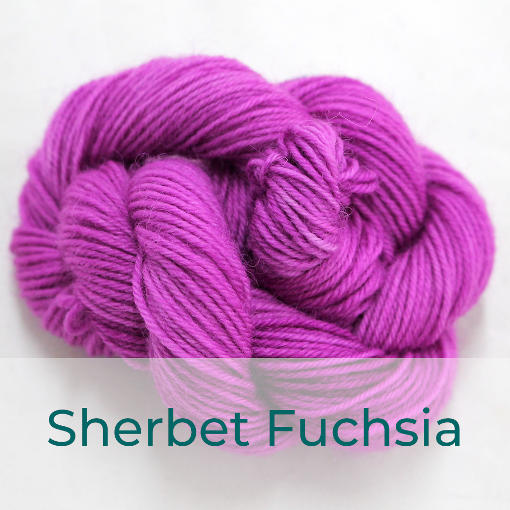BFL 4 Ply mini skein in the Sherbet Fuchsia colourway. It is light bright fuchsia pink.