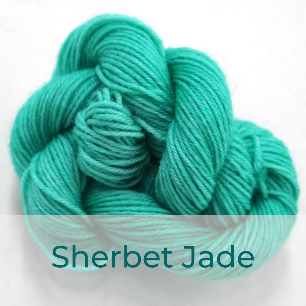 BFL 4 Ply mini skein in Sherbet Jade colourway. It is light bright jade green.