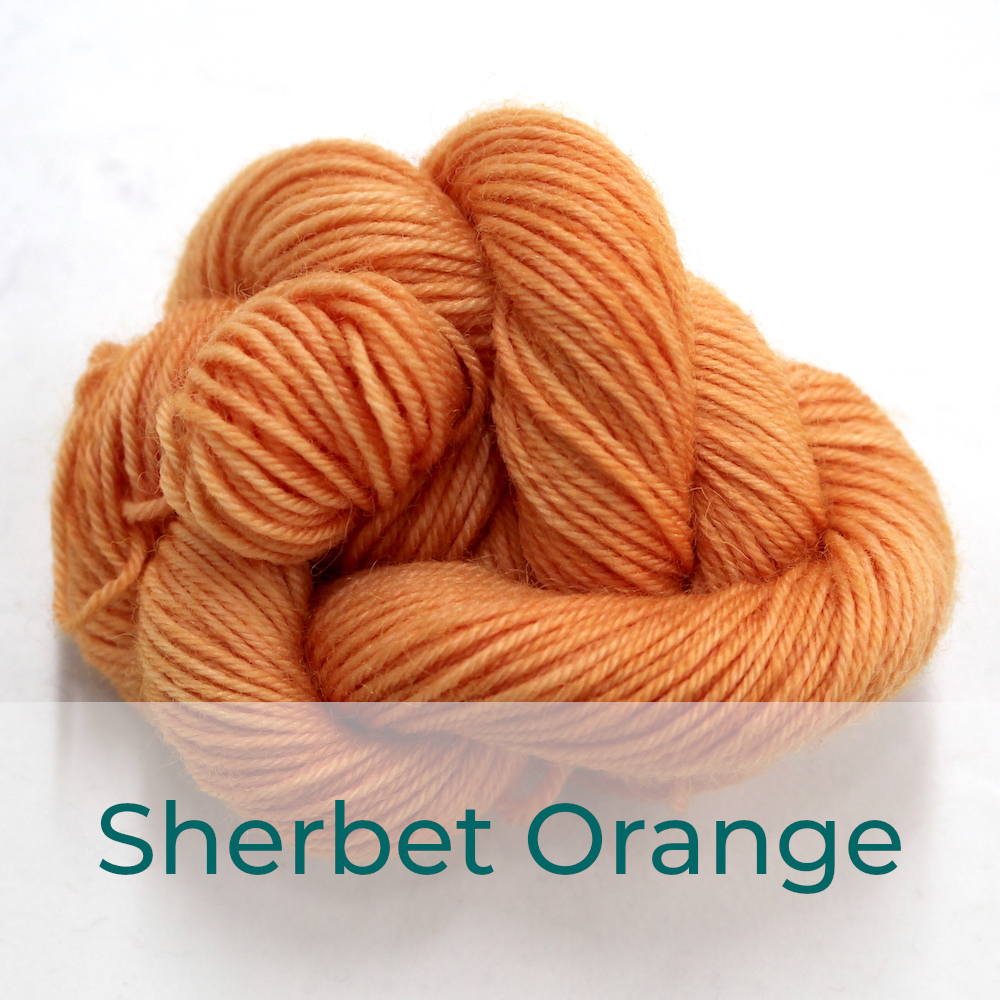 BFL 4 Ply mini skein in the Sherbet Orange colourway. It is a soft orange colour.