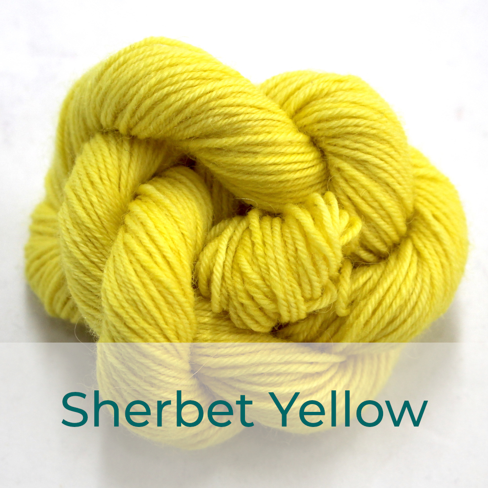 BFL 4 Ply mini skein in the Sherbet Yellow colourway. It is light lemon yellow.