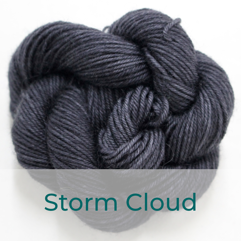 BFL 4 Ply mini skein in the Storm Cloud colourway. It is charcoal grey.