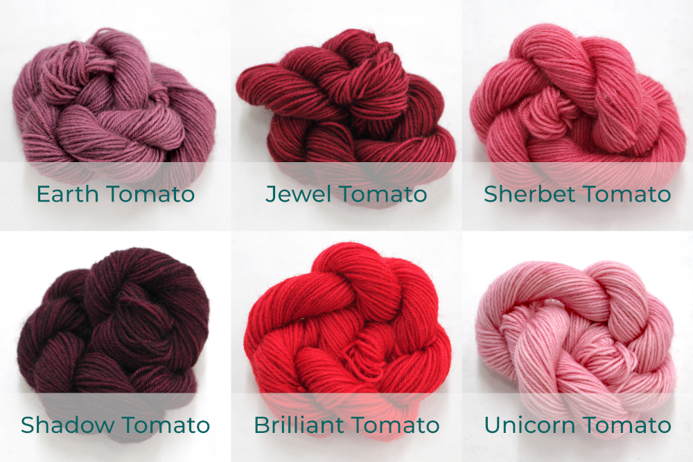 BFL 4 Ply Mini skeins ranging from dark to light Tomato.