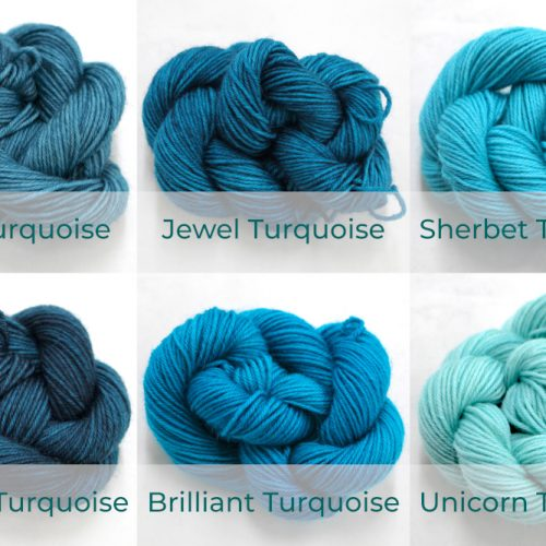 BFL 4 Ply Mini skeins ranging from dark to light Turquoise.