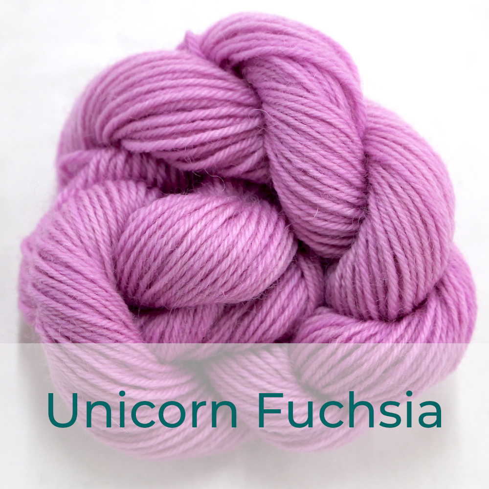 BFL 4 Ply mini skein in the Unicorn Fuchsia colourway. It is very light fuchsia pink.