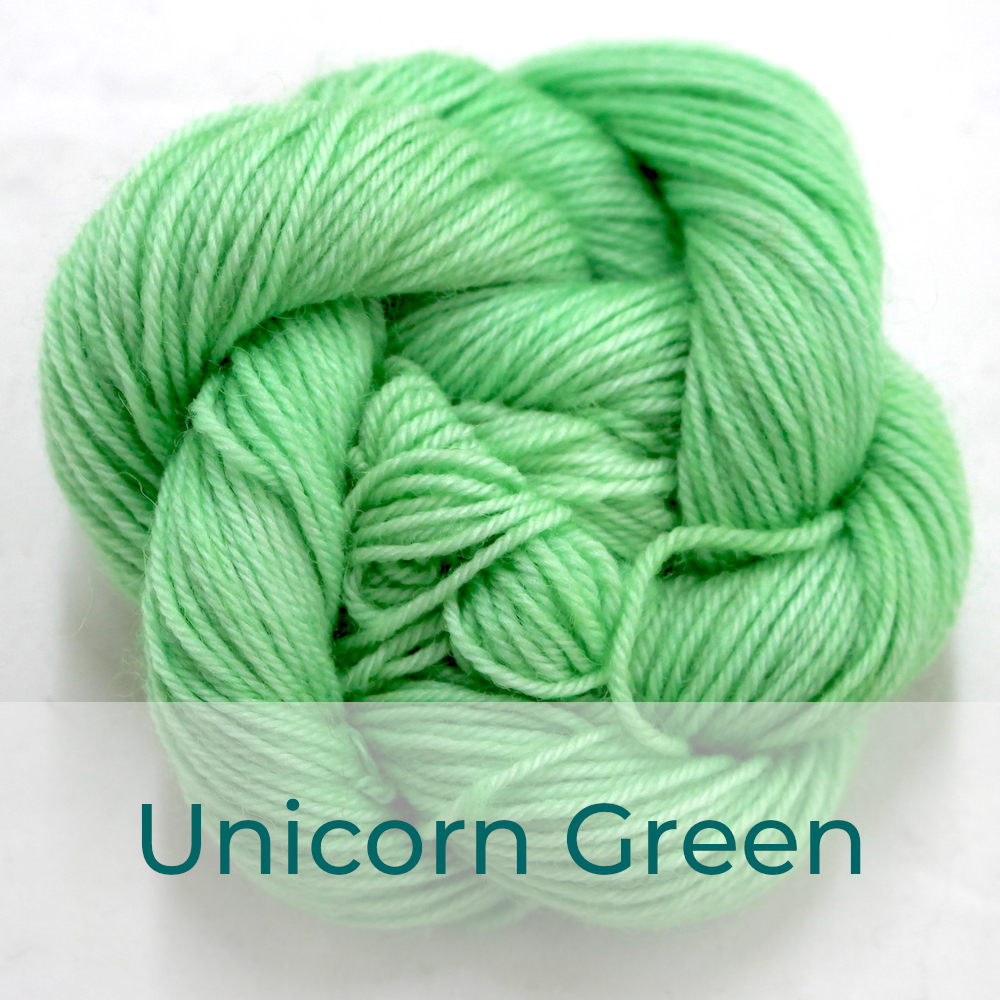 BFL 4 Ply mini skein in the Unicorn Green colourway. It is mint green.