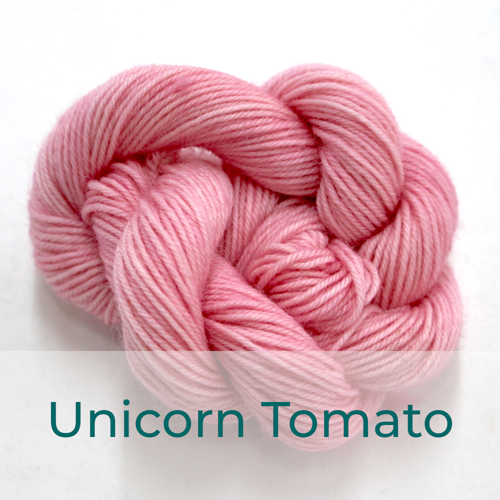 BFL 4 Ply mini skein in Unicorn Tomato colourway. It is pale pink.