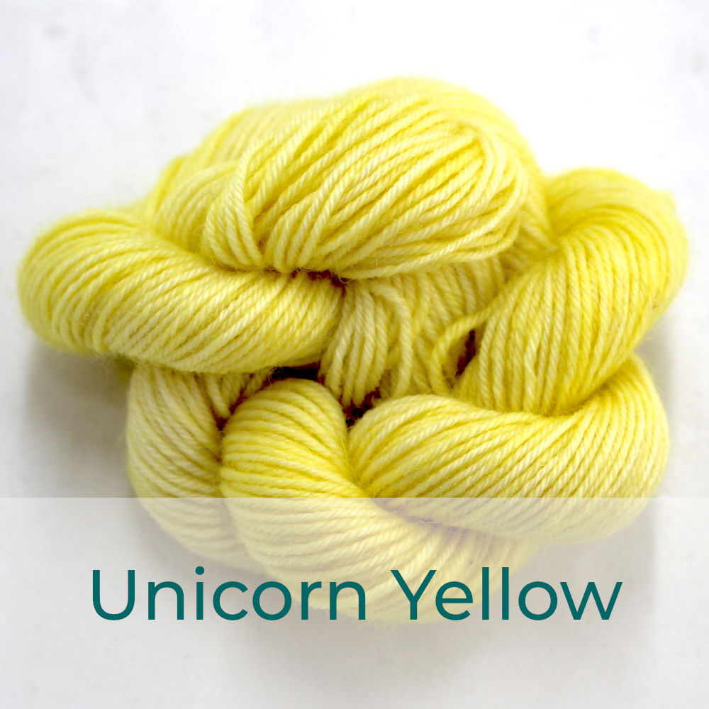 BFL 4 Ply mini skein in the Unicorn Yellow colourway. It is very light lemon yellow.