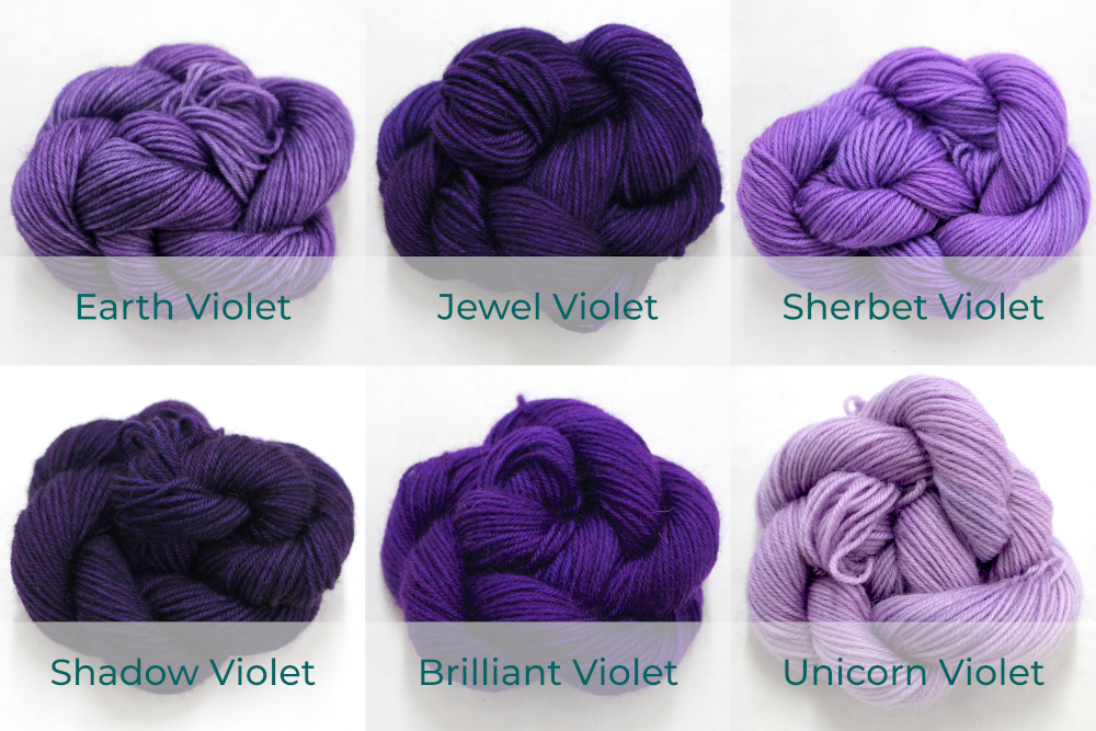 BFL 4 Ply Mini skeins ranging from dark to light Violet.