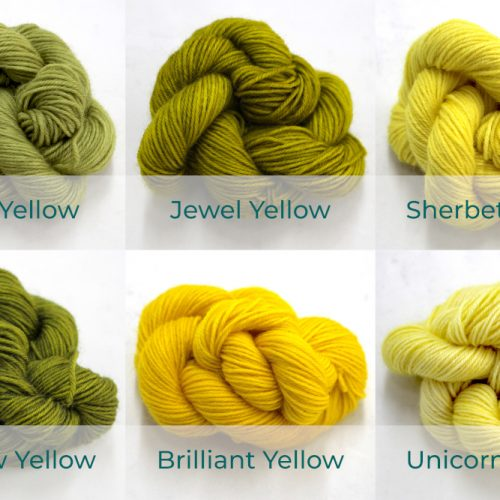 BFL 4 Ply Mini skeins ranging from dark to light Yellow.