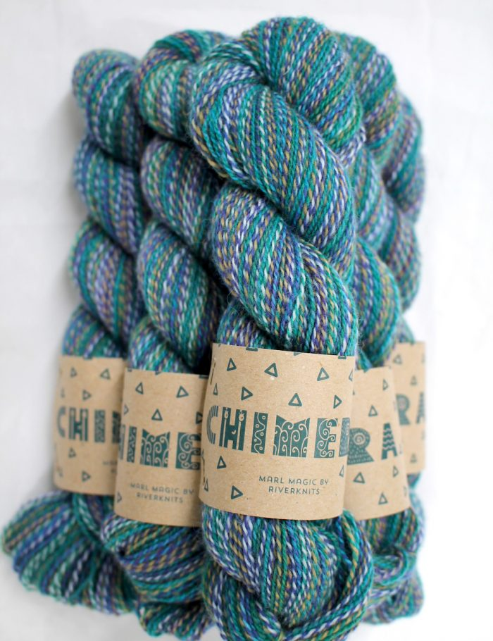 a bundle of Chimera Yarn stacked up