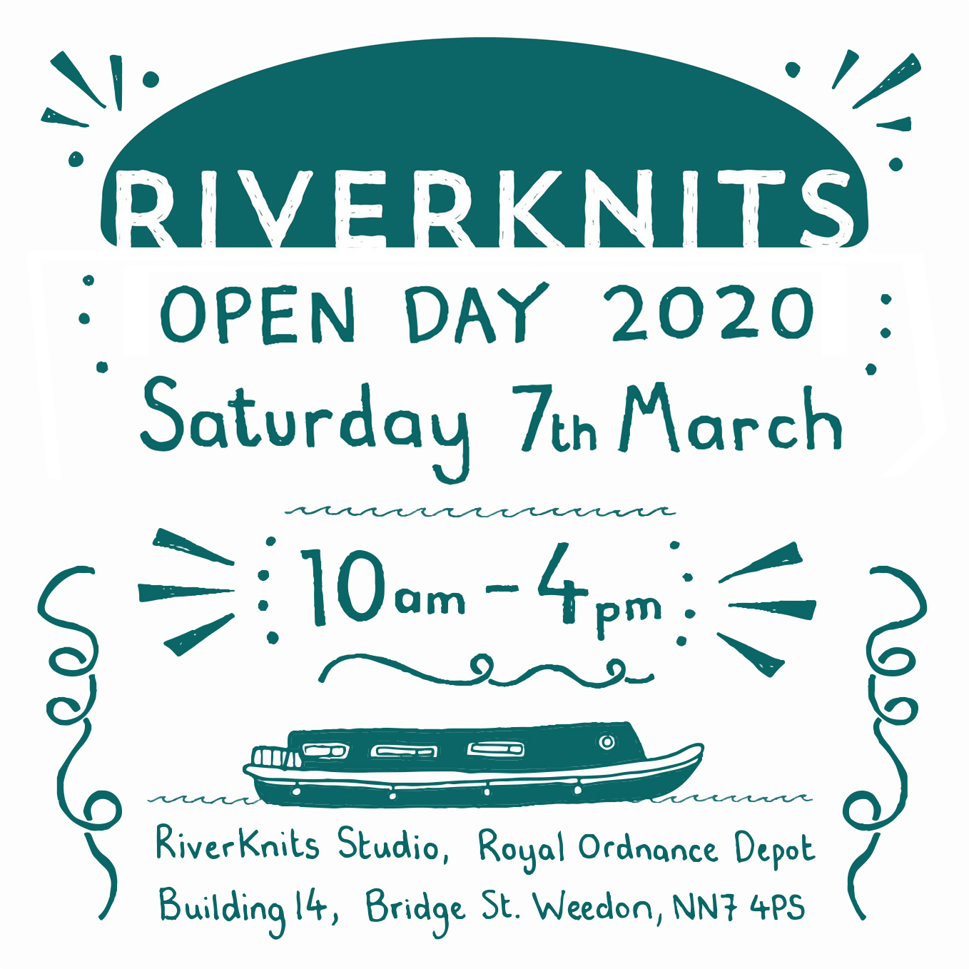 Open Day Graphic with dates and a narrow boat